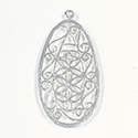 Metal Filigree Flat Pendants - Flat Pear 40x24MM SILVER