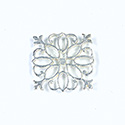 Metal Filigree Link Connector - Flat Square 23x23MM SILVER