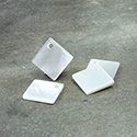 Shell Pendant - Smooth Flat Square 12x12MM WHITE MOP with Hole in Corner