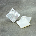 Shell Pendant - Smooth Flat Square 15x15MM WHITE MOP with Hole at Corner