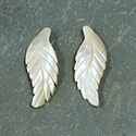 Shell Leaf Carved 25x10MM BROWN TROCHUS - Sold in pairs