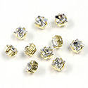 Crystal Stone in Metal Sew-On Setting - Square 05x5MM MAXIMA CRYSTAL-RAW