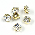 Crystal Stone in Metal Sew-On Setting - Square 08x8MM MAXIMA CRYSTAL-RAW