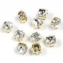 Crystal Stone in Metal Sew-On Setting - Square 06x6MM MAXIMA CRYSTAL-RAW