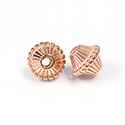 Metalized Plastic Bead - Ribbed Bicone 19x16MM COPPER