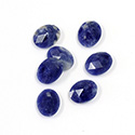 Gemstone Flat Back Stone with Faceted Top Rauten Rose - Oval 10x8MM SODALITE