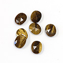 Gemstone Flat Back Stone with Faceted Top Rauten Rose - Oval 10x8MM TIGEREYE