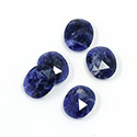 Gemstone Flat Back Stone with Faceted Top Rauten Rose - Oval 12x10MM SODALITE