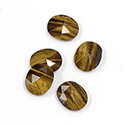 Gemstone Flat Back Stone with Faceted Top Rauten Rose - Oval 12x10MM TIGEREYE