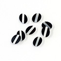 Gemstone Flat Back Flat Top Straight Side INLAY DESIGN - Diagonal Stripe Oval 08x6MM ONYX/MOP