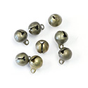 Brass Jingle Bell Charm with Loop Round 08mm Raw
