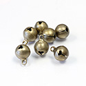 Brass Jingle Bell Charm with Loop Round 10mm Raw