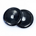 Gemstone Bead - Donut Round 35MM Dyed QUARTZ COL. 01 BLACK
