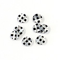 Gemstone Flat Back Flat Top Straight Side INLAY DESIGN - Crisscross Round 07MM MOP/ONYX