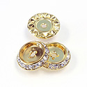 Czech Rhinestone Rondelle Shrag Flat Back Setting - Round 15MM outside with 9mm Recess CRYSTAL-RAW BRASS