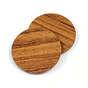 Wood Flat Back FTSS Stones - Round Discs 30MM BAYONG Finished