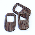 Wood Pendant Smooth Dog Tag Style with 18mm opening at Top, 50x31mm PALMWOOD