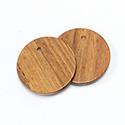 Wood Pendant Smooth Top Drilled 1-Hole Disc 30mm BAYONG