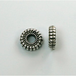 Metalized Plastic Bead - Ribbed Round Spacer 10.5MM ANT SILVER
