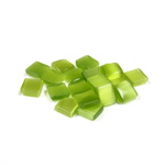 Fiber-Optic Flat Back Buff Top Straight Side Stone - Square 06x6MM CAT'S EYE OLIVENE
