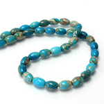 Gemstone Bead - Smooth Oval 09x6MM SEA SEDIMENT JASPER DYED TURQUOISE