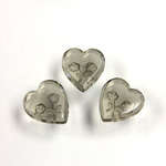 German Glass Flat Back Reverse Carved Intaglio Back 2 Rose Heart 12x11MM BLACK DIAMOND