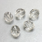 German Plastic Bead - Transparent Twisted Oval 14x11MM CRYSTAL