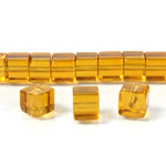 Glass Bead Table Polished - Cube 06x6MM TOPAZ