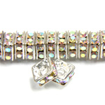 Czech Rhinestone Rondelle - Square 06MM CRYSTAL AB-SILVER
