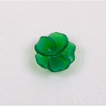 German Plastic Flower with Center Hole - 5-Petal Round 14MM MATTE EMERALD