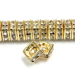Czech Rhinestone Rondelle - Square 06MM CRYSTAL-GOLD