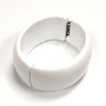 Acrylic Hinged Bangle - Round 32MM wide CHALKWHITE
