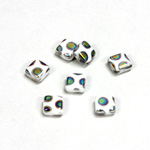 Czech Pressed Glass Bead - Smooth Flat Square 06x6MM PEACOCK CHALKWHITE