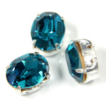 Crystal Stone in Metal Sew-On Setting - Oval 10x8MM BLUE ZIRCON-SILVER