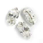 Crystal Stone in Metal Sew-On Setting - Navette 10x5MM CRYSTAL-SILVER