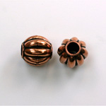 Metalized Plastic Bead - Melon Round 10MM ANT COPPER