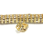 Czech Rhinestone Rondelle - Square 04.5MM CRYSTAL-GOLD
