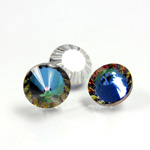 German Glass Flat Back Roulette Coated - Round 12MM CRYSTAL BERMUDA BLUE