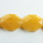 Gemstone Bead - Faceted Octagon 25x20MM Dyed QUARTZ Col. 38 AMBER