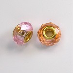 Glass Faceted Bead with Large Hole Gold Plated Center - Round 14x9MM ALEXANDRITE