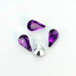 Plastic Point Back Foiled Stone - Pear 13x8MM AMETHYST