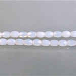 Czech Glass Fire Polish Bead - Oval 06x4MM WHITE OPAL