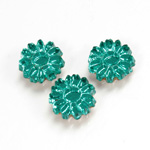 Glass Flat Back Foiled Mirror - Daisy 10MM EMERALD
