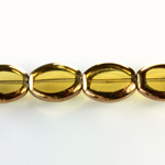 Glass Fire Polished Table Cut Window Bead - Oval 16x14MM SMOKE TOPAZ with METALLIC COATING
