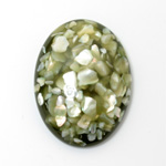 Plastic Flat Back Cabochon - Inlay Shell Oval 40x30MM OLIVE