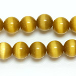 Fiber-Optic Synthetic Bead - Cat's Eye Smooth Round 10MM CAT'S EYE LT BROWN