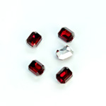 Plastic Point Back Foiled Stone - Cushion Octagon 08x6MM RUBY