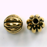 Metalized Plastic Bead - Melon Round 14MM ANT GOLD