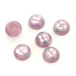Glass Medium Dome Lampwork Cabochon - Round 10MM WHITE ON AMETHYST (00569)