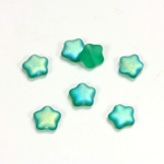 Czech Pressed Glass Bead - Star 08MM MATTE EMERALD AB